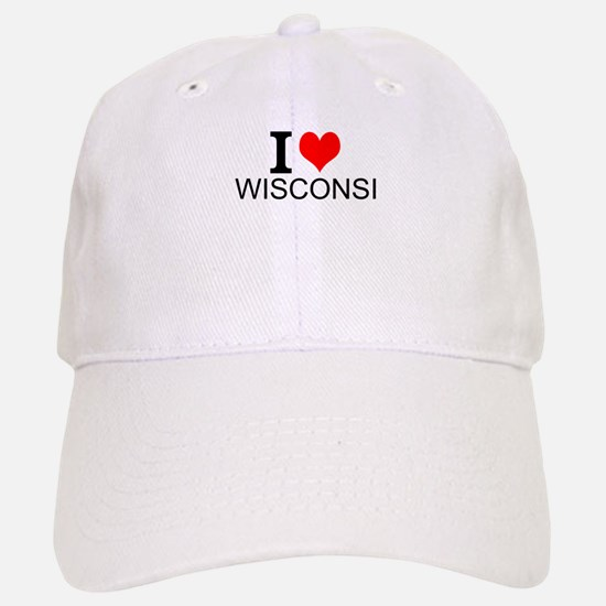 I Love Wisconsin Baseball Baseball Baseball Cap