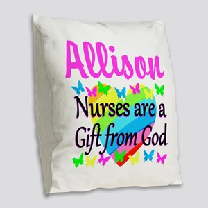 BLESSED NURSE Burlap Throw Pillow