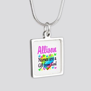 BLESSED NURSE Silver Square Necklace