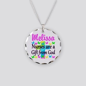 BLESSED NURSE Necklace Circle Charm