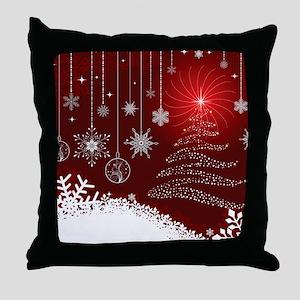 Decorative Christmas Ornamental Snowf Throw Pillow