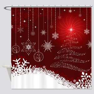 Decorative Christmas Ornamental Sno Shower Curtain