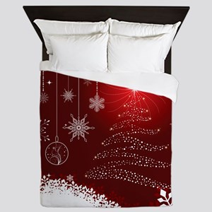 Decorative Christmas Ornamental Snowfl Queen Duvet