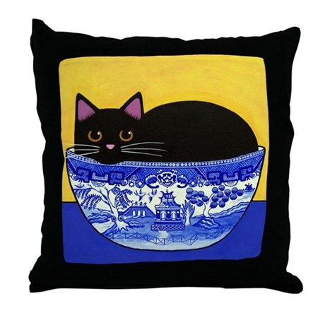 Black CAT In Blue Willow Bowl Throw Pillow