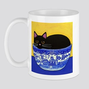 Black CAT In Blue Willow Bowl Mug