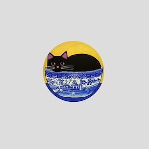 Black CAT In Blue Willow Bowl Mini Button Pin