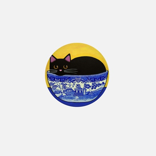 Black CAT In Blue Willow Bowl Mini Button Pin