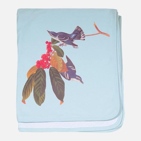 Cerulean Warbler Vintage Audubon Birds baby blanke