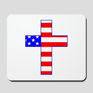 USA Stars and Stripes And Cross Mousepad