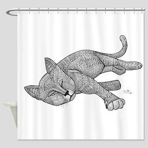 Winking Cat Shower Curtain