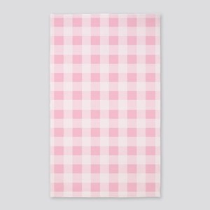 Pink Gingham Checkered Pattern Area Rug