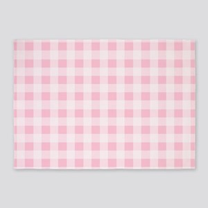 Pink Gingham Checkered Pattern 5'x7'Area Rug