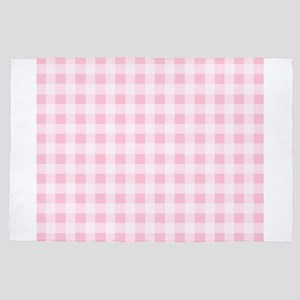 Pink Gingham Checkered Pattern 4' x 6' Rug
