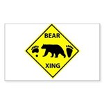 Bear and Tracks XING Sticker (Rectangle)