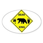 Bear and Tracks XING Sticker (Oval)