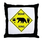 Bear and Tracks XING Throw Pillow