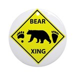 Bear and Tracks XING Ornament (Round)