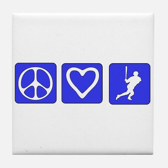 Peace Love Baseball Tile Coaster