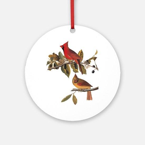 Cardinal Grosbeak Vintage Audubon Birds Round Orna
