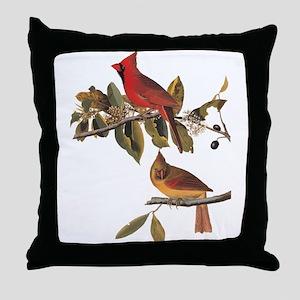 Cardinal Grosbeak Vintage Audubon Birds Throw Pill