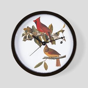 Cardinal Grosbeak Vintage Audubon Birds Wall Clock