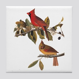 Cardinal Grosbeak Vintage Audubon Birds Tile Coast