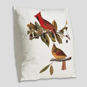 Cardinal Grosbeak Vintage Audubon Birds Burlap Thr