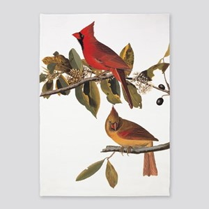 Cardinal Grosbeak Vintage Audubon Birds 5'x7'Area