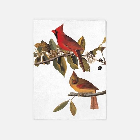Cardinal Grosbeak Vintage Audubon Birds 5'x7'Area