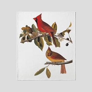 Cardinal Grosbeak Vintage Audubon Birds Throw Blan