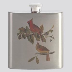 Cardinal Grosbeak Vintage Audubon Birds Flask