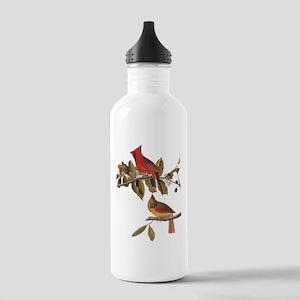 Cardinal Grosbeak Vintage Audubon Birds Water Bott