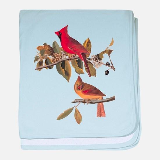 Cardinal Grosbeak Vintage Audubon Birds baby blank