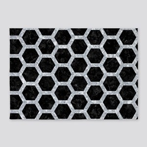 HEXAGON2 BLACK MARBLE & GRAY MARBLE 5'x7'Area Rug