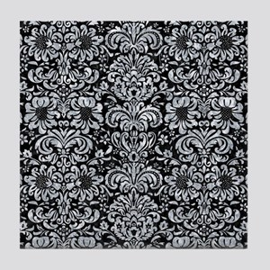 DAMASK2 BLACK MARBLE & GRAY MARBLE Tile Coaster