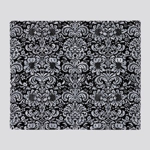 DAMASK2 BLACK MARBLE & GRAY MARBLE Throw Blanket