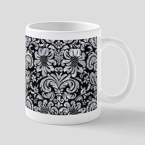 DAMASK2 BLACK MARBLE & GRAY MARB 11 oz Ceramic Mug