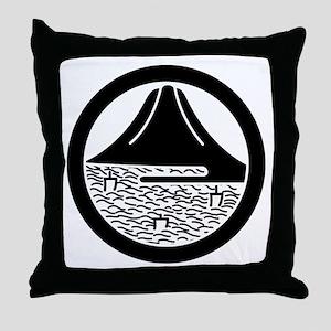 Mt.Fuji and sailing ships in circle Throw Pillow