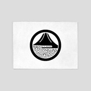 Mt.Fuji and sailing ships in circle 5'x7'Area Rug