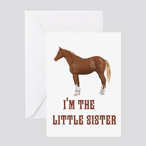 Im the little sister horse design Greeting Cards