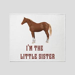 Im the little sister horse design Throw Blanket