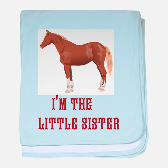 Im the little sister horse design baby blanket