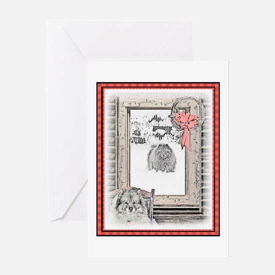 Keeshond Christmas Winter Window Greeting Card