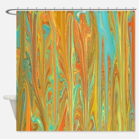 Unique Orange Shower Curtain
