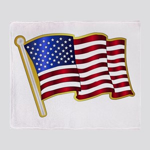 Stars And Stripes Pin Padge Throw Blanket