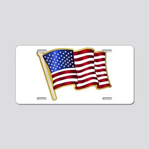 Stars And Stripes Pin Padge Aluminum License Plate