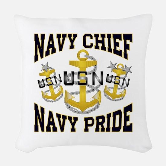 navy chief Woven Throw Pillow