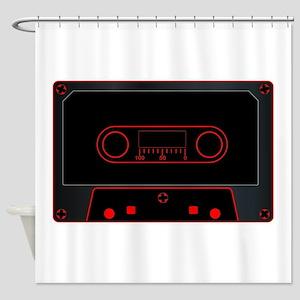Black Audio Cassette Shower Curtain