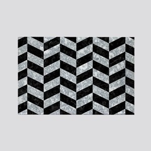 CHEVRON1 BLACK MARBLE & GRAY MARB Rectangle Magnet