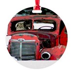 Keeshond Christmas Old Truck Round Ornament